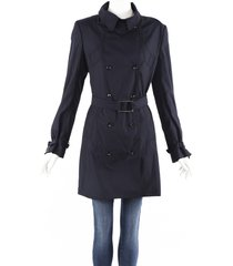 stella mccartney blue wool blend belted trench coat blue sz: l