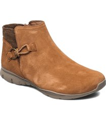 womens seager shoes boots ankle boots ankle boot - flat brun skechers