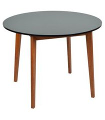 mesa de jantar redonda tóquio preta e mel 100 cm