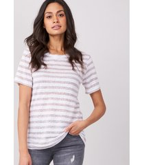 linnen t-shirt met glitterstrepen