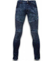 exclusieve ripped jeans - slim fit biker jeans - lined knee pads