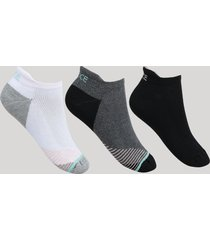 kit de 3 meias feminino cano curto com lingueta multicor
