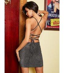 vestido de diseño sin espalda plateado yoins