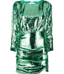 for love and lemons sequin ruched mini dress - green