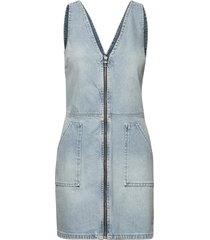 denim zipohrough dress kort klänning blå superdry