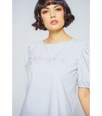 blusa adrissa rayas bordado en contraste armonia
