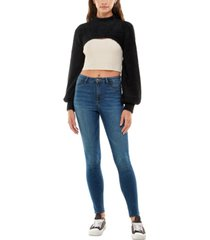 almost famous juniors' fuzzy cropped shrug