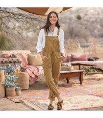 sundance catalog women's treasured overalls - petites in ochre petite xl
