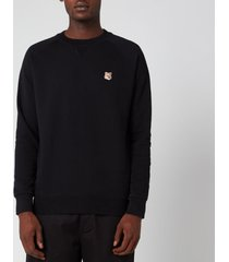 maison kitsuné men's fox head patch sweatshirt - black - m