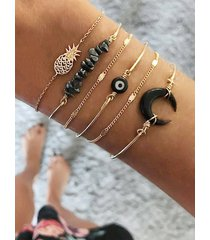 6pcs natural stone moon eye shape bracelet set