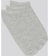 kit de 3 meias soquete cinza mescla