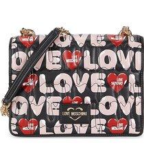 love moschino women's logo faux leather shoulder bag - black multi