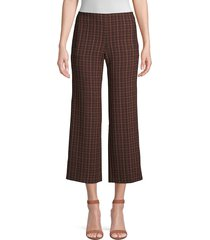 elie tahari women's odette plaid cropped pants - black multi - size 0