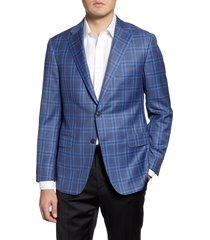 men's hickey freeman classic fit plaid wool sport coat