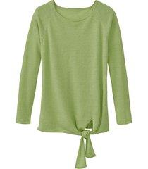 luchtige linnen pullover met bindsluiting, avocadogroen 40/42