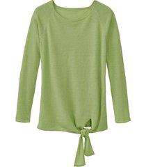 luchtige linnen pullover met bindsluiting, avocado 44