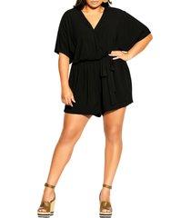 plus size women's city chic effortless romper, size x-small - black