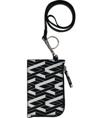 ports v two tone zipped coin wallet - black