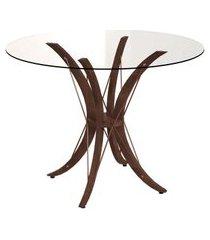 mesa de jantar redonda com tampo de vidro boston incolor e café 100 cm