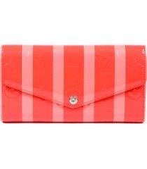 louis vuitton rayures sarah wallet pink orange striped monogram vernis leather pink/orange sz: