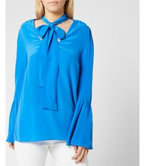 michael michael kors women's bell sleeve silk top - grecian blue - l - blue