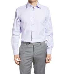 men's big & tall david donahue trim fit mini houndstooth dress shirt, size 16.5 - 36/37 - purple