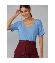 amaro feminino t-shirt básica u, azul claro