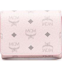 mcm monogram-print folding wallet - pink
