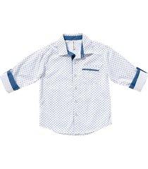 camisa maxi   miniprint blanca