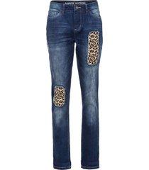 jeans boyfriend con inserto leopardato (blu) - rainbow