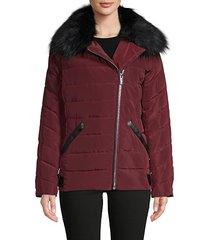 faux fur-trim asymmetrical puffer jacket