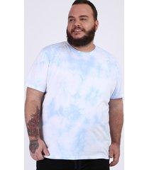 camiseta masculina plus size estampado tie dye manga curta gola careca azul claro