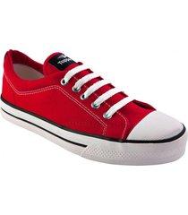 zapatilla lona derby rojo topper