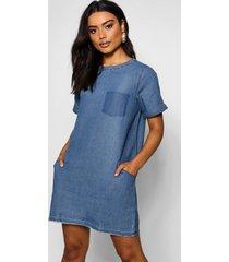 slouch pocket denim dress, mid blue