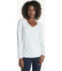 tommy hilfiger women's essential solid v-neck sweater snow white - xxs