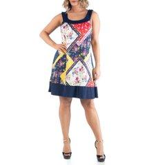 24seven comfort apparel women's plus size patchwork print sleeveless dress