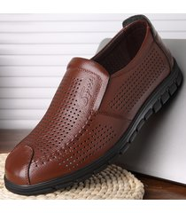 punta cava traspirante per uomo hep soft slip on casual leather shoes