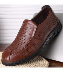 punta cava traspirante per uomo hep soft slip on casual leather shoes