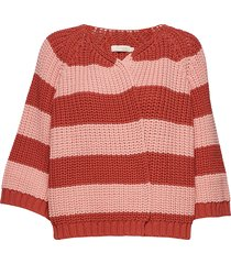 rope stripe knit jacket gebreide trui cardigan rood rabens sal r