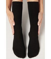 calzedonia short ribbed socks with wool and cashmere woman black size tu