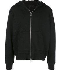 amiri distressed detail hoodie - black
