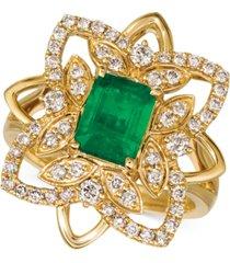 le vian costa smeralda emerald (1-1/5 ct. t.w.) & nude diamond (5/8 ct. t.w.) statement ring in 14k gold