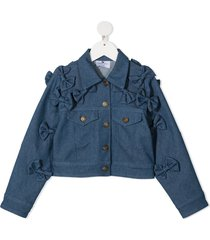 raspberry plum teen bow-embellished denim jacket - blue