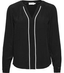 ls prt placket trim shirt blouse lange mouwen zwart calvin klein