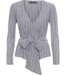 camisa feminina transpassada decote v - cinza