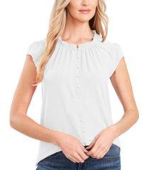 cece cap-sleeve ruffled-neck blouse