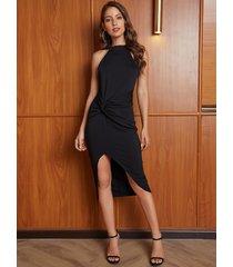 yoins black twist diseño halter con dobladillo cortado vestido
