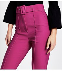 river island womens dark pink belted peg trousers