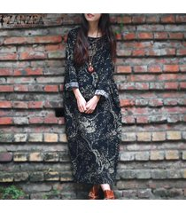 zanzea vestido largo suelto de manga larga con estampado floral informal para mujer kaftan (azul marino) -azul