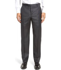 men's hickey freeman classic b fit flat front solid wool dress pants